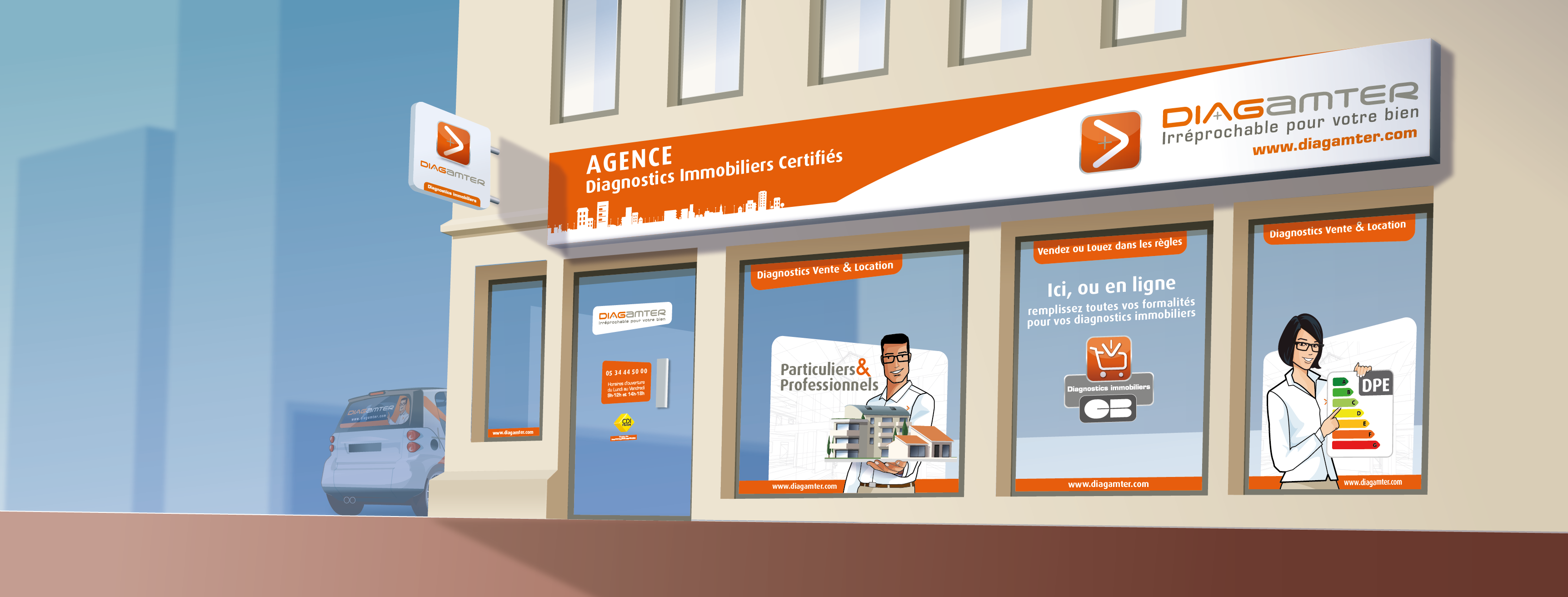 Local commercial d'une agence Diagamter de diagnostic immobilier.