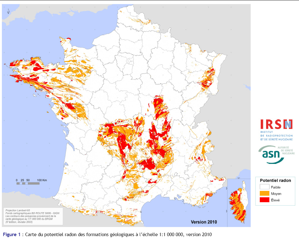 Carte des zones de radon en France
