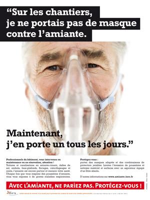 Affiche de l'INRS pour la prévention amiante sur les chantiers