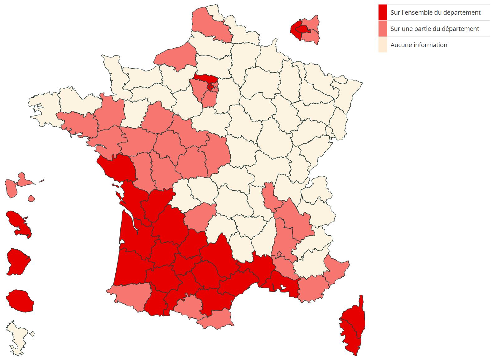 Où sont les zones infestées par les termites en France ?