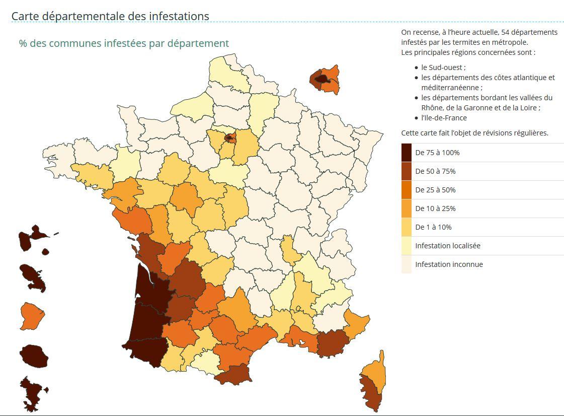 Carte présence termites en France