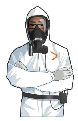 Diago de Diagamter avec une tenue et un masque pour diagnostiquer l'amiante.