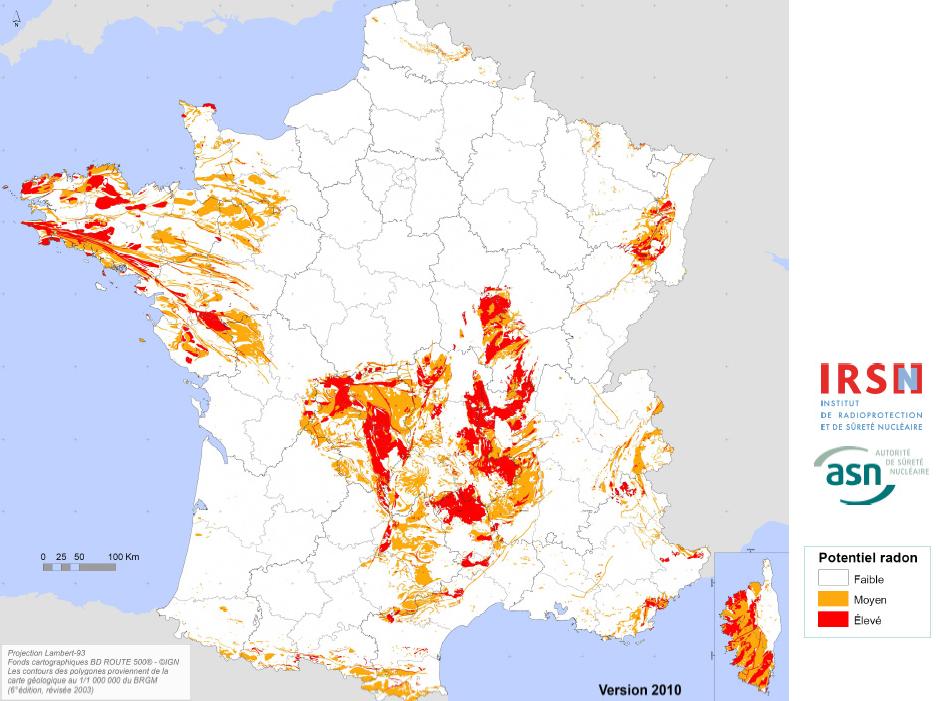 carte des zones à risques concernant la radioactivité